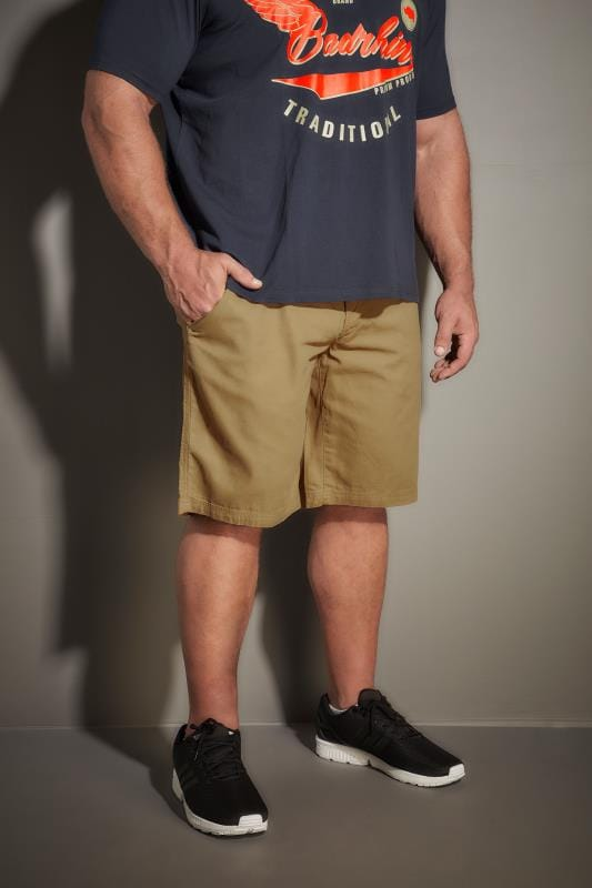 Plus Size Cargo Shorts LOYALTY & FAITH Tan Utility Shorts With Canvas Belt