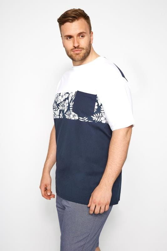 LOYALTY & FAITH White & Navy Tropical Print T-Shirt
