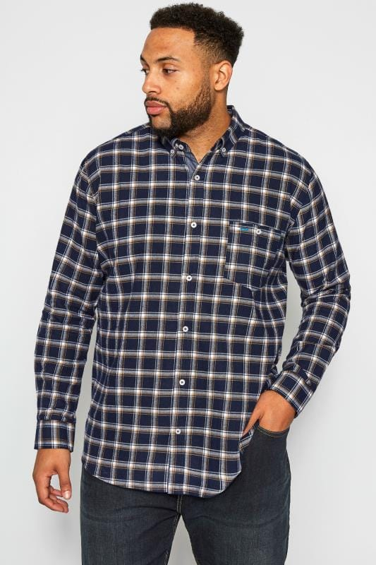 Chemises Casual Grande Taille BadRhino Navy Brushed Herringbone Checked Shirt