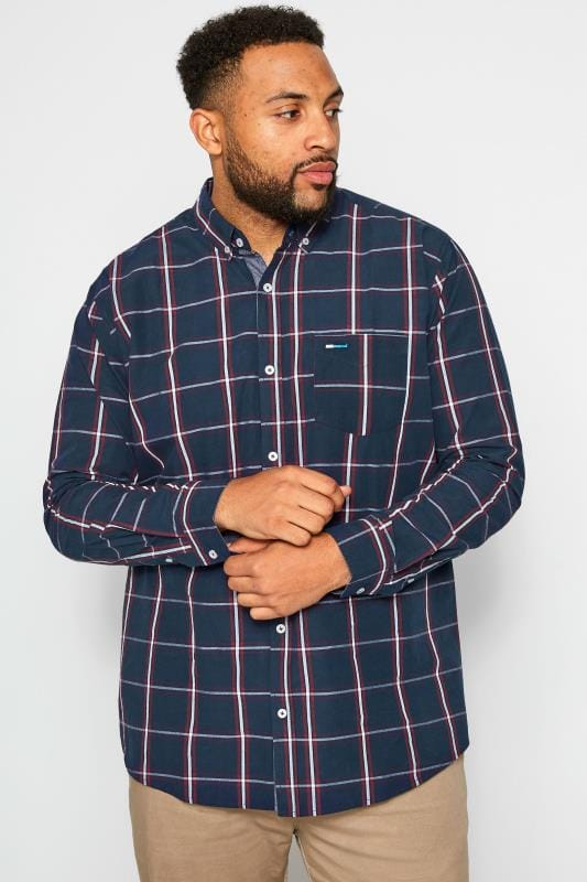 Casual Shirts dla puszystych BadRhino Navy Peached Large Check Shirt