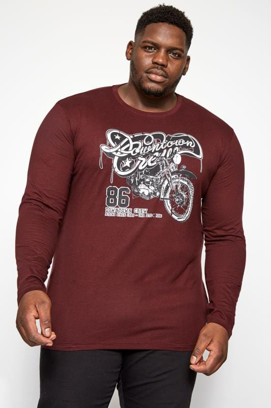 Plus Size T-Shirts BadRhino Burgundy Downtown Graphic Print Long Sleeve T-Shirt