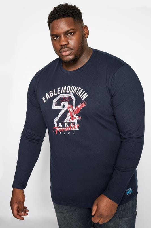Plus Size T-Shirts BadRhino Navy Eagle Mountain Print Long Sleeve T-Shirt