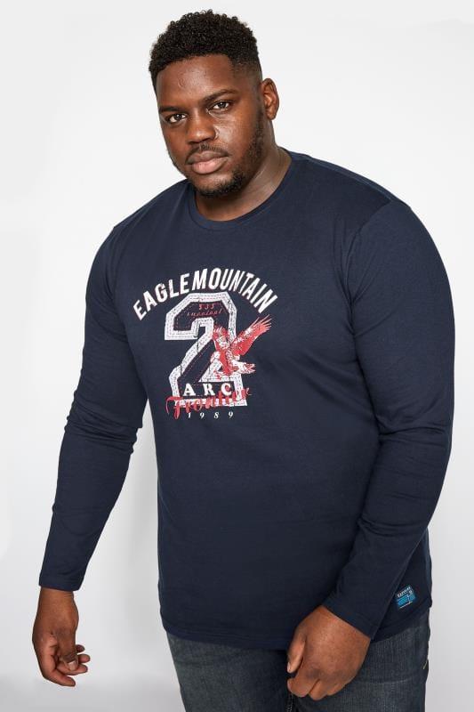 BadRhino Navy Eagle Mountain Print Long Sleeve T-Shirt