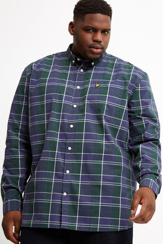 Plus Size Smart Shirts LYLE & SCOTT Navy & Green Check Shirt