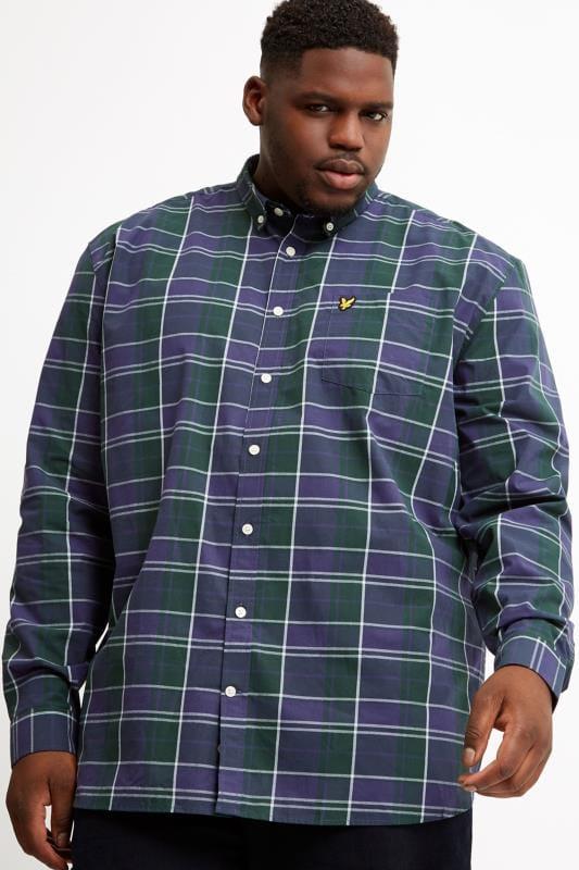 Plus Size Smart Shirts LYLE & SCOTT Navy & Green Check Shirt