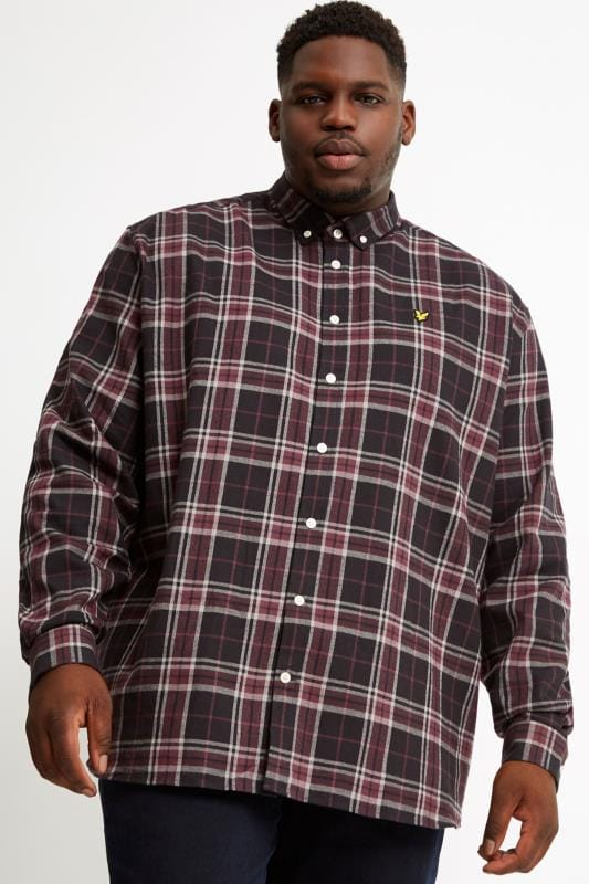 Plus Size Casual Shirts LYLE & SCOTT Black Check Flannel Shirt