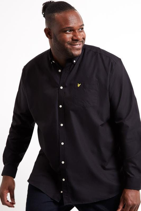Plus Size Smart Shirts LYLE & SCOTT Black Oxford Shirt