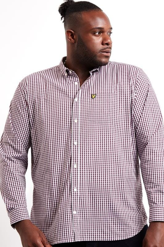 LYLE & SCOTT Burgundy & White Slim Fit Gingham Shirt