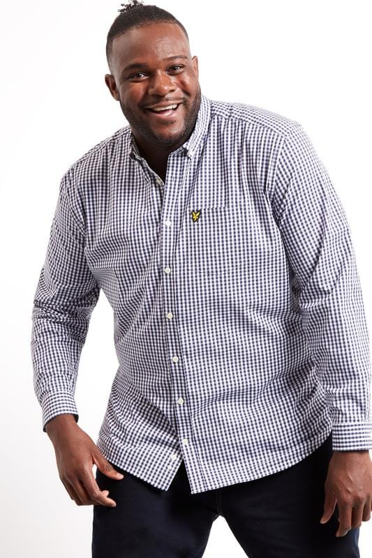 Plus Size Smart Shirts LYLE & SCOTT Navy & White Slim Fit Gingham Shirt