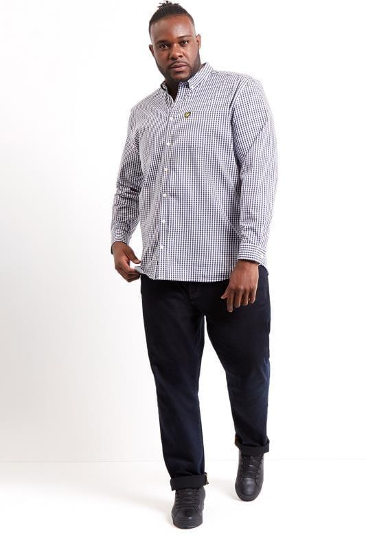 LYLE & SCOTT Navy & White Slim Fit Gingham Shirt