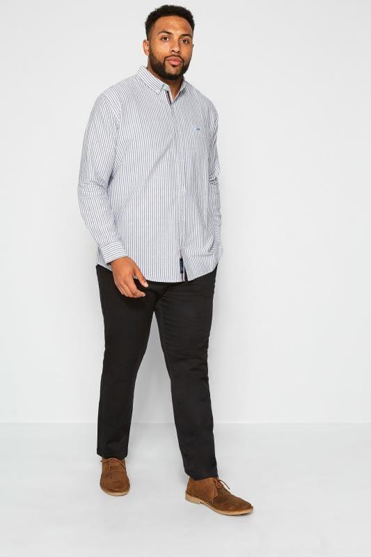BadRhino Blue & Grey Striped Long Sleeved Oxford Shirt_19cc.jpg