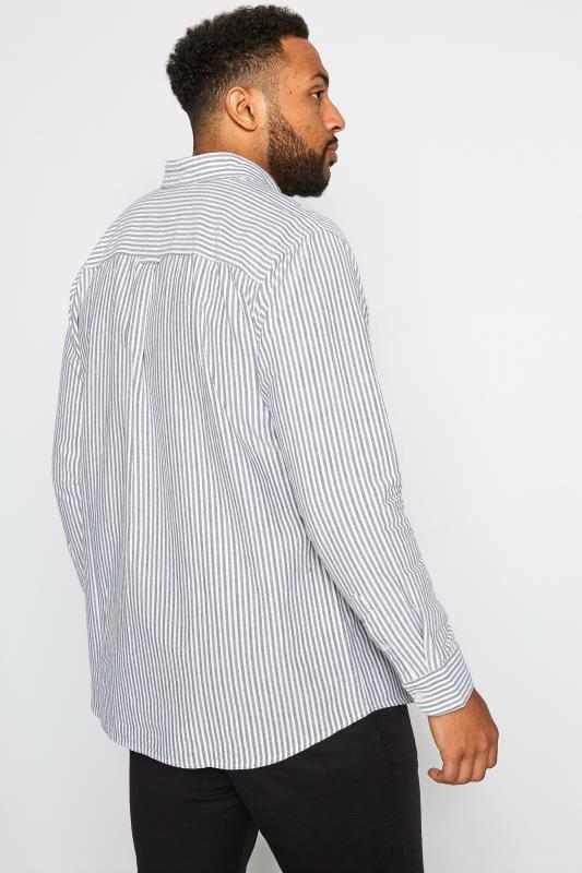 BadRhino Blue & Grey Striped Long Sleeved Oxford Shirt_6ad1.jpg
