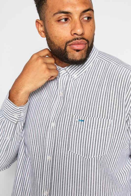 BadRhino Blue & Grey Striped Long Sleeved Oxford Shirt_8a54.jpg