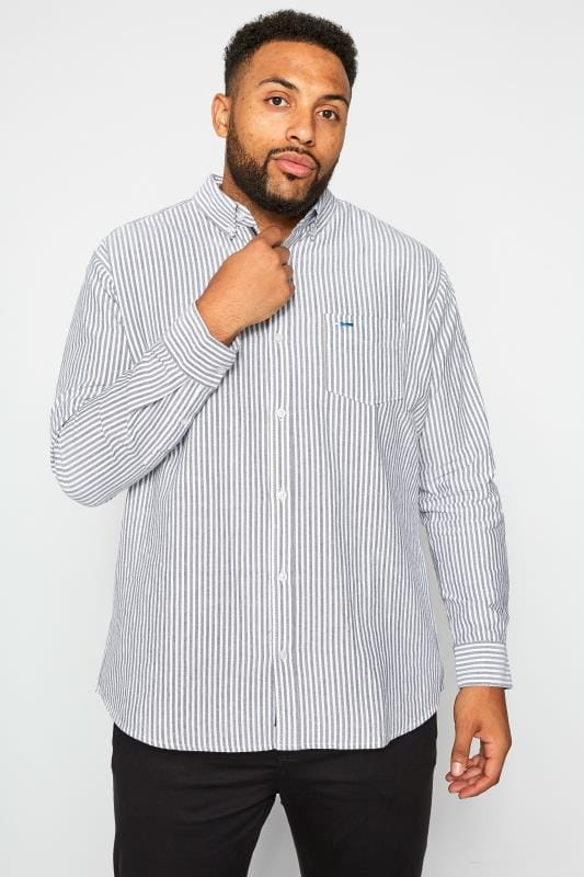 Plus Size Smart Shirts BadRhino Blue & Grey Striped Long Sleeved Oxford Shirt