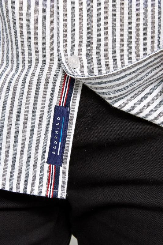 BadRhino Blue & Grey Striped Long Sleeved Oxford Shirt_dc31.jpg