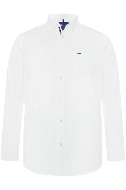 Smart Shirts BadRhino White Cotton Long Sleeved Oxford Shirt 201212