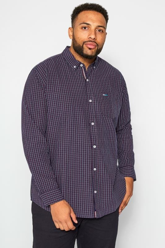 Plus Size Smart Shirts BadRhino Navy & Red Small Check Long Sleeved Shirt