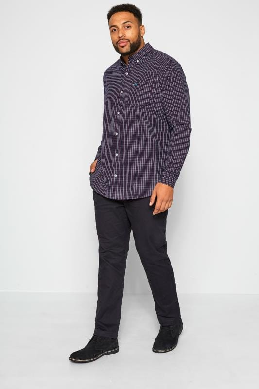 BadRhino Navy & Red Small Check Long Sleeved Shirt