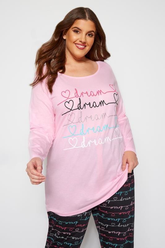 Pyjamas Grande Taille Haut de Pyjama Rose Imprimé Slogan 'Dream'