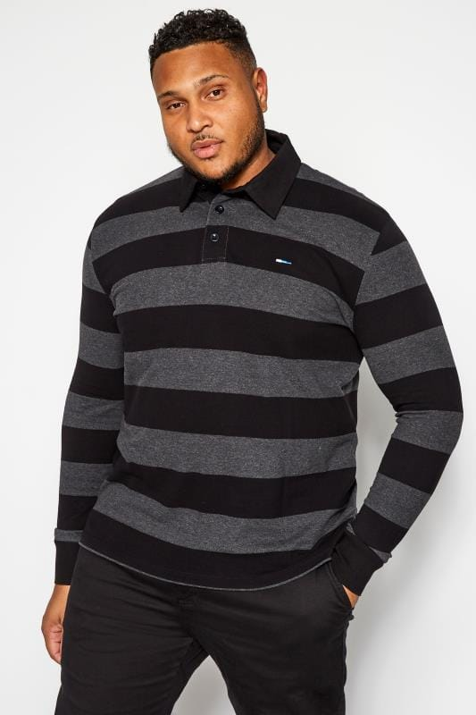 Plus Size Polo Shirts BadRhino Black and Grey Stripe Polo Shirt