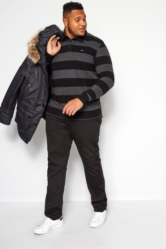 BadRhino Black and Grey Stripe Polo Shirt