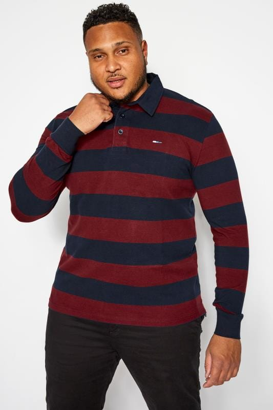 Plus Size Polo Shirts BadRhino Navy and Burgundy Stripe Polo Shirt