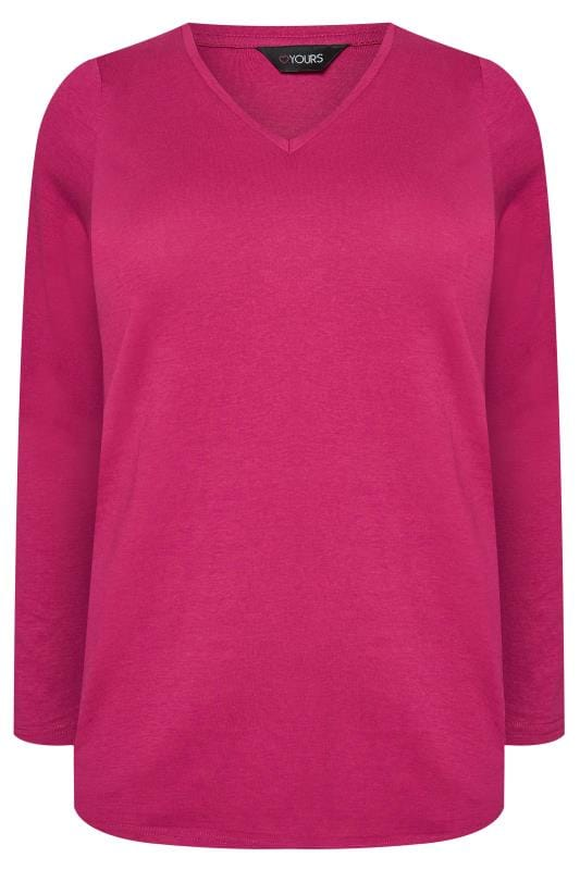 Cerise V-Neck Long Sleeve Top