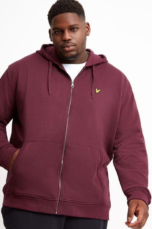 Hoodies dla puszystych LYLE & SCOTT Burgundy Zip Through Hoodie