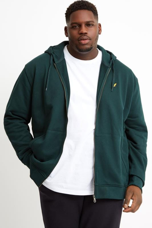 Plus Size Hoodies LYLE & SCOTT Green Zip Through Hoodie