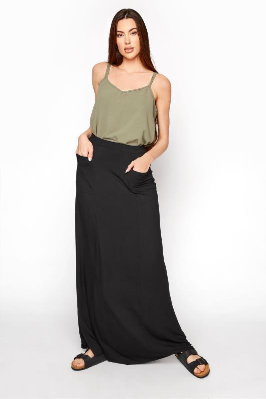 LTS Black Fit & Flare Maxi Skirt