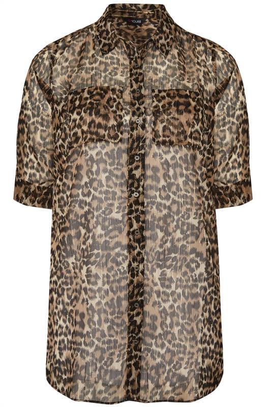 Большие размеры | Рубашки Рубашка с леопардовым принтом и люрексом