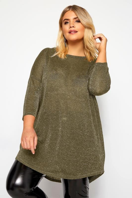 Plus Size Jumpers Gold Metallic Knitted Jumper