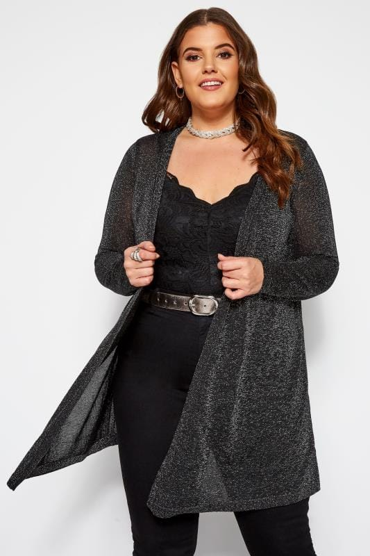 Plus Size Cardigans Black Metallic Waterfall Cardigan