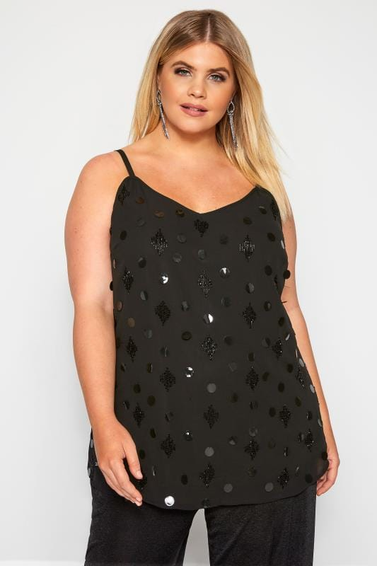 Plus Size Party Tops LUXE Black Disc Embellished Cami Top