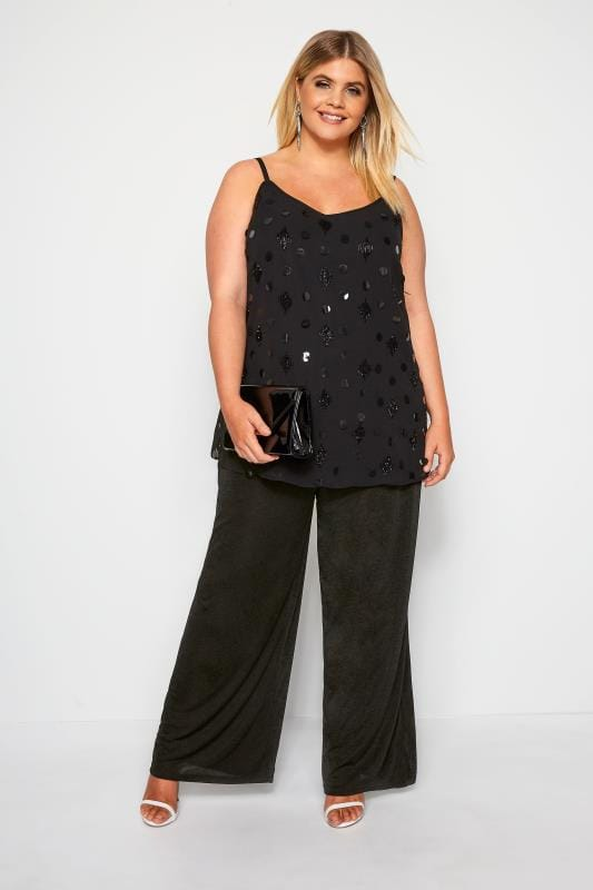 LUXE Black Embellished Cami Top