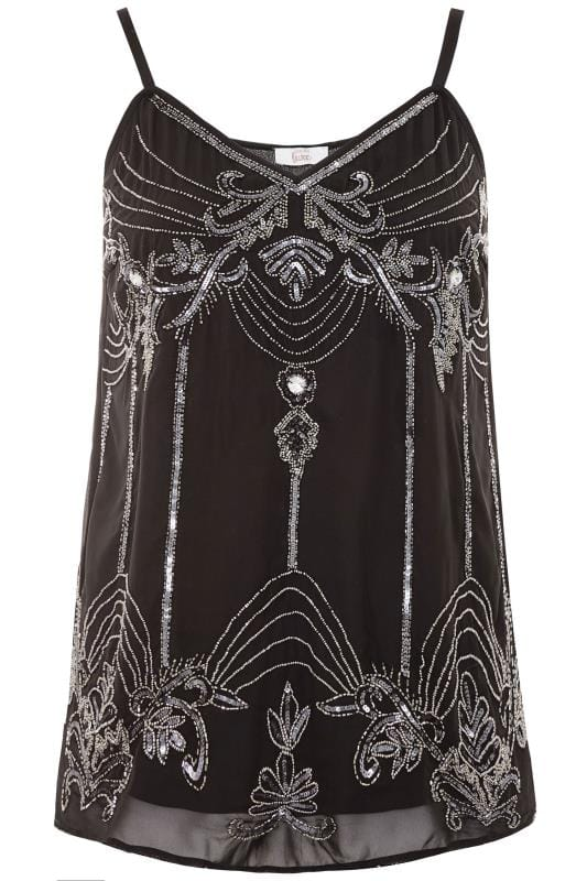LUXE Black Embellished Chiffon Cami Top
