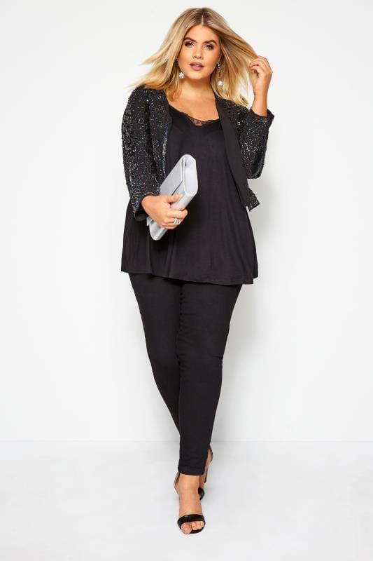 LUXE Black Embellished Short Crop Jacket