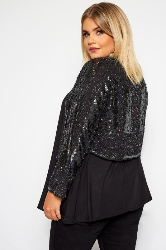 LUXE Black Embellished Short Crop Jacket