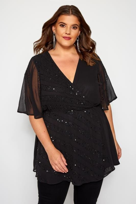 Plus Size Party Tops LUXE Black Embellished Wrap Top