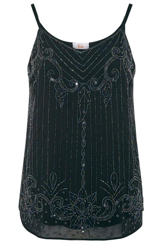 LUXE Black Floral Bead Embellished Chiffon Cami Top