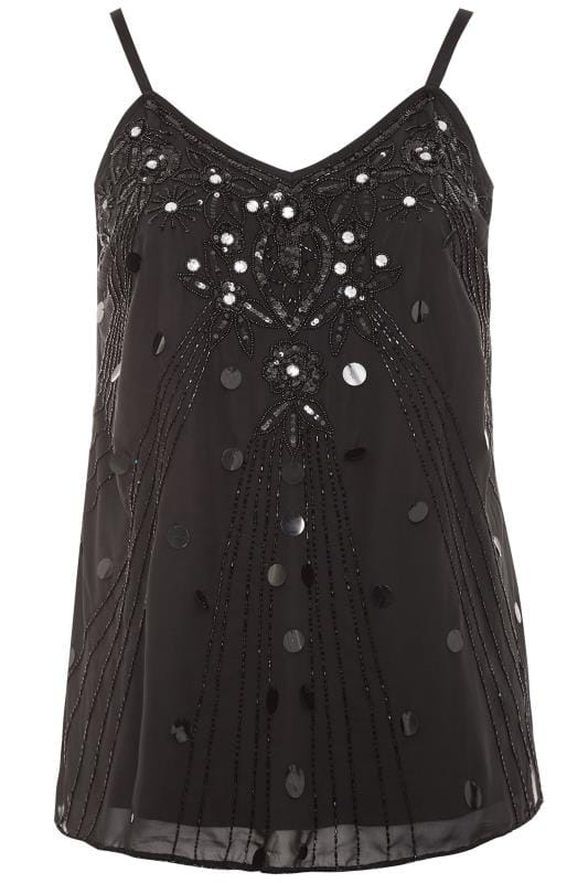 LUXE Black Floral Embellished Cami Top
