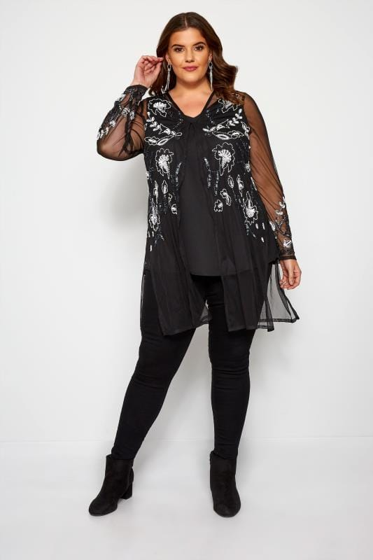 LUXE Black Floral Sequin Embellished Kimono