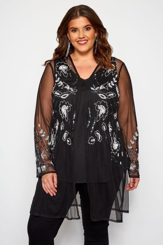 Plus Size Kimonos LUXE Black Floral Sequin Embellished Kimono