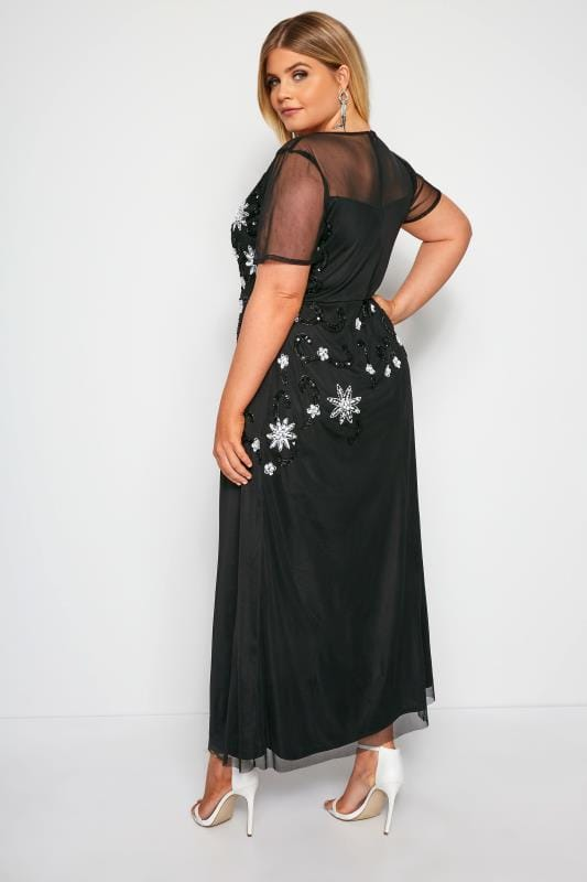 LUXE Black Mesh Embellished Maxi Dress