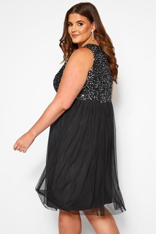 LUXE Black Sequin Embellished Dress