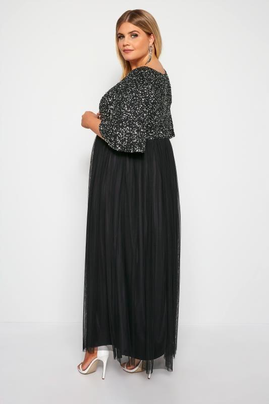 LUXE Black Sequin Embellished Evening Dress