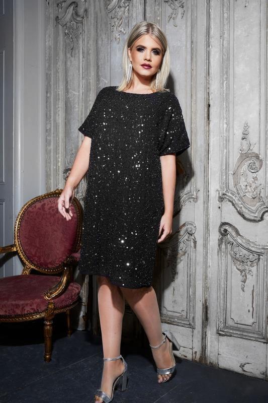 LUXE Black Sequin Cold Shoulder Cape Dress