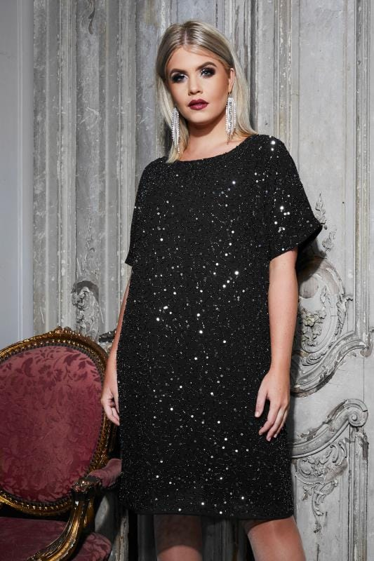 Plus Size Evening Dresses LUXE Black Sequin Cold Shoulder Cape Dress