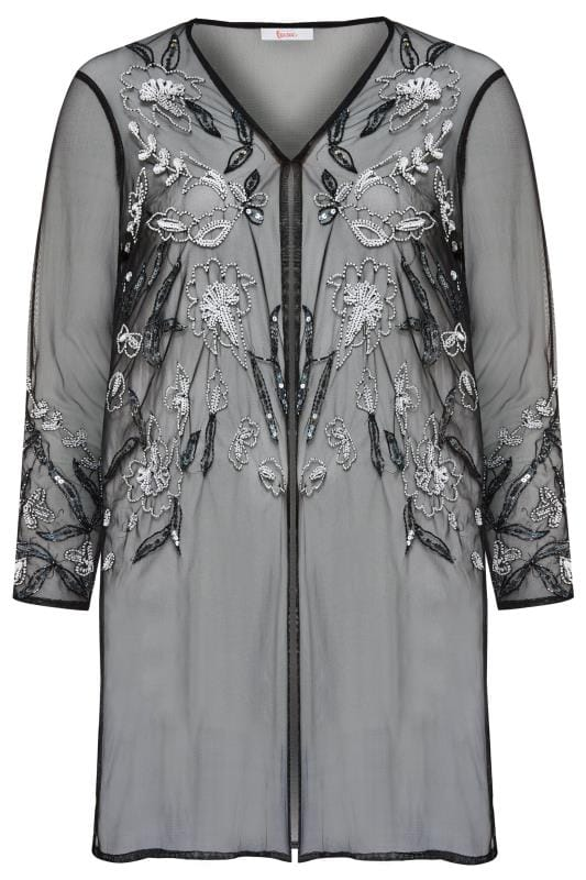 LUXE Black Floral Sequin Embellished Kimono | Yours Clothing
