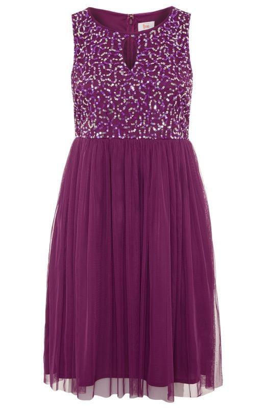 LUXE Purple Sequin Embellished Dress